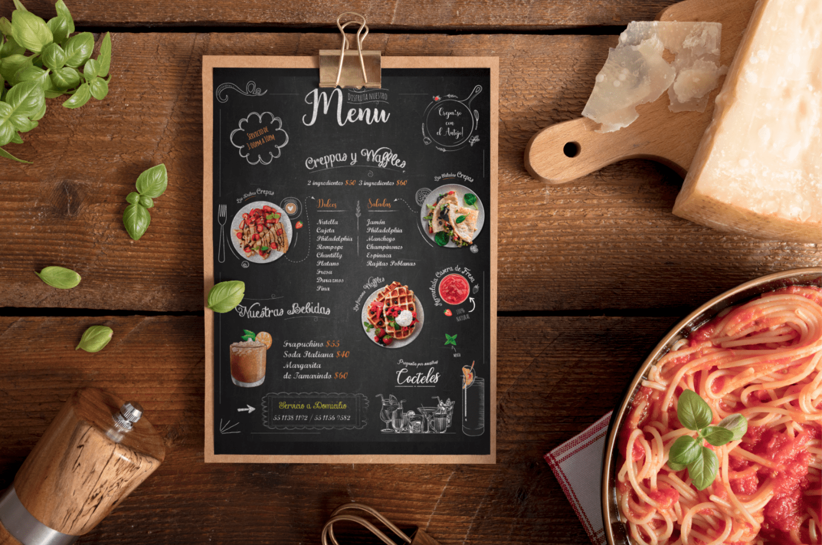 medio impreso para menu