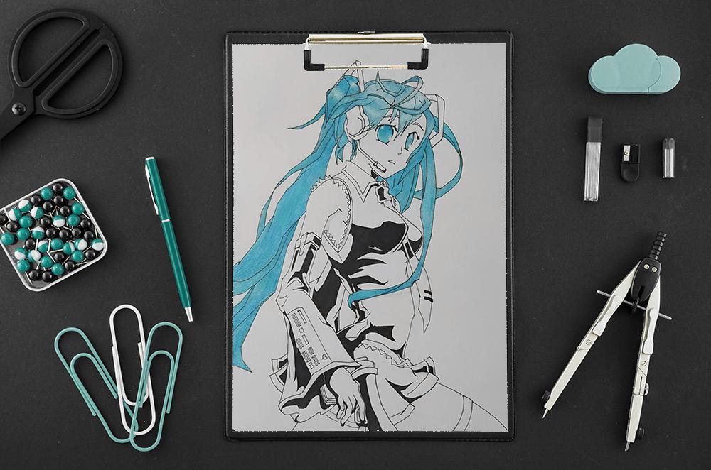Hatsune Miku Ilustración Tradicional